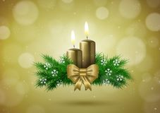 Christmas wish card  with candles  in gold vector Royalty Free Stock Photos