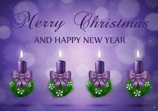 Christmas wish card  with candles  in purple vector Stock Photo