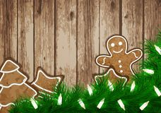 Christmas wish card with gingerbread vector Stock Images