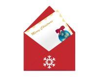Christmas wish letter. Christmas greeting cards with Christmas balls Royalty Free Stock Image
