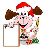 Christmas wish list. Cartoon dog with a blank Christmas wish list. Days to go Stock Images