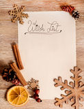 Christmas wish list. Christmas background with rustic decor Royalty Free Stock Photography