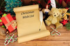 Christmas wish list. With a festive nostalgic background and text saying stock images