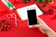 Christmas wish list and online shopping background Stock Image