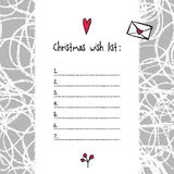 Christmas wish list template. Hand drawn elements. Printable des Stock Images