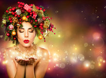 Christmas Wish - Model Fashion. With Christmas Tree In Hairstyle royalty free stock photo