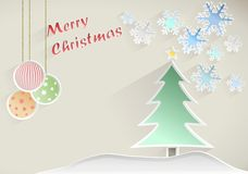 Christmas wish with tree, star and snowflakes on beige background Stock Photos