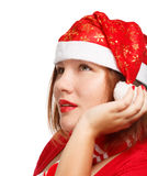 Christmas wish. Young woman in new year or christmas suit smiling isolated on white background. Close up Stock Photos