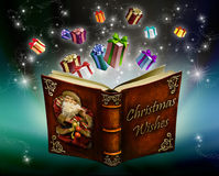 Christmas wishes. Magic book of Wishes Christmas gifts Royalty Free Stock Image
