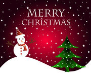 Christmas wishes. Merry Christmas wishes with tree and snowman on red background Stock Image