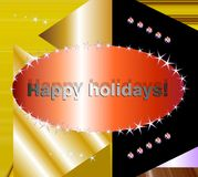 Christmas wishes on contrasting background. Christmas wishes and happy holidays on golden and black background Stock Photo