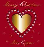 Christmas wishes and golden heart. Christmas wishes and a golden heart on red background with stars vector illustration