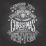 Christmas wishes hand-lettering with chalk Stock Images