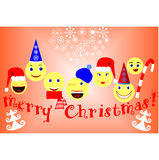 Christmas. Wishes for a happy Christmas with fun emoticons Stock Images
