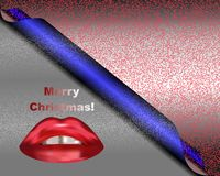 Christmas wishes and lips. Colorful card with Christmas wishes, bubbles and red lips royalty free illustration
