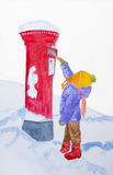 Christmas wishes, red letterbox, child, winter. A small child (could be a girl or a boy) posting a letter into a red, typically English , pillar post box stock illustration