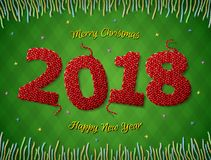 New Year 2018 in shape of knitted fabric on checkered background Stock Photography