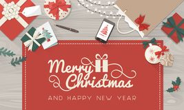 Christmas wishes and table with gifts royalty free stock images