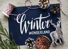 Winter season typography design mockup stock photo