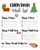 Christmas Wishlist for kids,  illustration. Cute cartoon h. And drawn elements, presents, fir tree, mittens, hat. Holiday card, isolated on white background Royalty Free Stock Photo