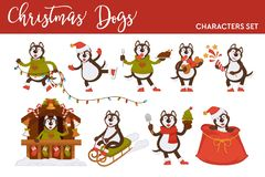 Christmas wolf or dog Santa cartoon character vector icons for New Year greeting card design template. Winter holiday sleigh, tree lights garland or skating vector illustration