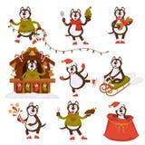 Christmas wolf dog Santa cartoon character vector icons winter holiday greeting card. Christmas wolf or dog Santa cartoon character vector icons for New Year Royalty Free Stock Image