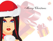 Christmas Woman. Against with a gift box Royalty Free Stock Photos