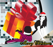 Christmas Woman. The girl on an abstract background with a gift box Stock Photography