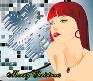 Christmas Woman. The girl on an abstract background Royalty Free Stock Photography
