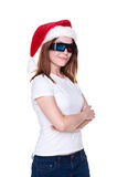 Christmas woman in 3d glasses Stock Photography