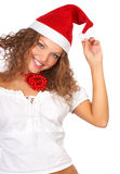 Christmas woman. In a Santa Cap. Isolated over white background stock image