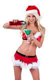 Christmas Woman Bartender Stock Photos
