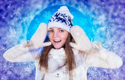 Christmas Woman. Beautiful New Year and Christmas Stock Photo