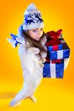 Christmas Woman. Beautiful New Year and Christmas Royalty Free Stock Image