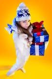 Christmas Woman. Beautiful New Year and Christmas Royalty Free Stock Image