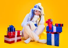 Christmas Woman. Beautiful New Year and Christmas Stock Photos