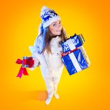 Christmas Woman. Beautiful New Year and Christmas Stock Images