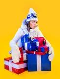 Christmas Woman. Beautiful New Year and Christmas Stock Photography