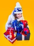 Christmas Woman. Beautiful New Year and Christmas Royalty Free Stock Photo