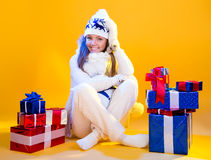 Christmas Woman. Beautiful New Year and Christmas Gift Holiday Royalty Free Stock Images
