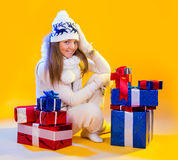 Christmas Woman. Beautiful New Year and Christmas Gift Holiday Royalty Free Stock Photos