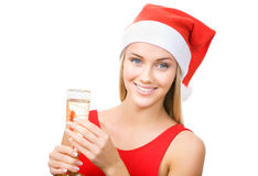 Christmas woman beautiful smiling with glass Royalty Free Stock Photos