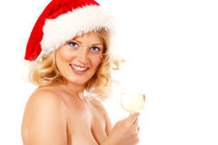 Christmas woman beautiful smiling with glass of champagne Royalty Free Stock Photography