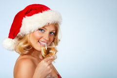 Christmas woman beautiful smiling with glass of champagne Stock Image