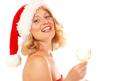 Christmas woman beautiful smiling with glass of champagne santa' Stock Photos