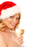 Christmas woman beautiful smiling with glass of champagne santa' Royalty Free Stock Photo