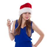 Christmas woman beautiful smiling with glass of champagne santa's hat isolated Royalty Free Stock Photography
