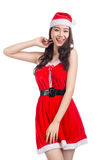 Christmas Woman. Beauty Asian Model Girl in Santa Costume isolat Royalty Free Stock Photos