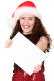 Christmas woman with blank Royalty Free Stock Image