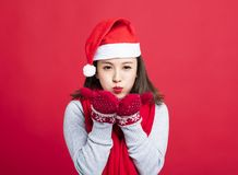 Christmas woman Blowing the Snow. Young Christmas woman Blowing the Snow Stock Photo